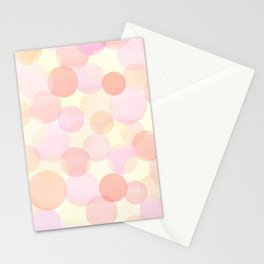 Pink and coral-red dots overprint pattern Stationery Cards