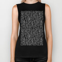 Elio's Shirt Faces in White Outlines on Black Crying Scene Biker Tank