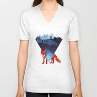 road V-neck T-shirts featuring Risky road by Robert Farkas