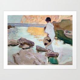 Elena at Cala de San Vicente by Joaquin Sorolla, 1919 Art Print