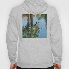Pond Reflections of Ducks With Ducklings and Palm Trees Hoody
