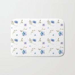 Blue watercolor flowers #2 Bath Mat
