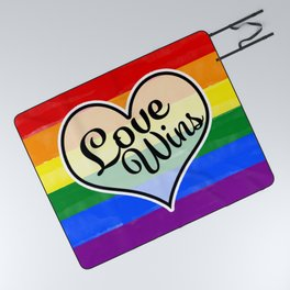 Pride Flag Love is Love-Water Color Graphic  Design  Picnic Blanket