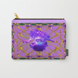 Jeweled Amethyst Gems Golden Web Iris Art. Carry-All Pouch