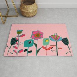 Mid century flowers pink Rug