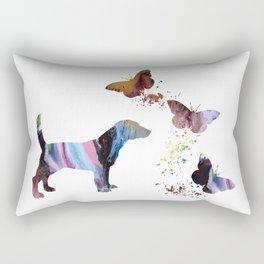 Beagle And Butterflies Rectangular Pillow