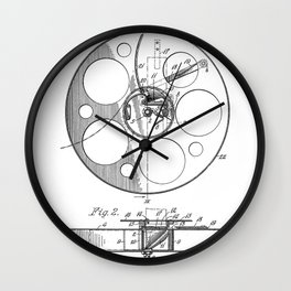Film Reel Patent - Classic Cinema Art - Black And White Wall Clock