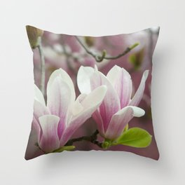 Pastel blossoms (Japanese magnolia) Throw Pillow