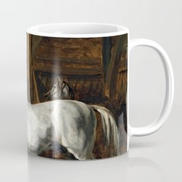 "Théodore Géricault ""White horse standing in a stable (Tamerlan, stallion of the Versailles stables)"" Coffee Mug"