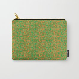 op art pattern retro circles in green and orange Carry-All Pouch