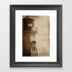 Sepia Light House Framed Art Print