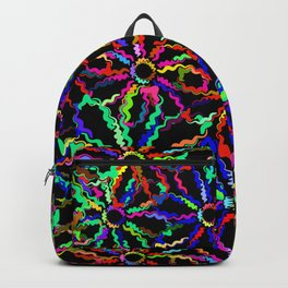 Abstract neon daisies. Background of colorful flowers contours on a black background. Backpack