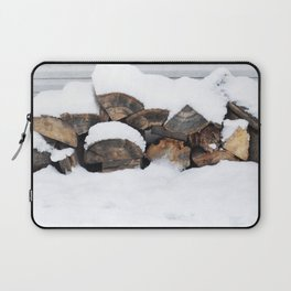 Snow Covered Wood Pile Laptop Sleeve