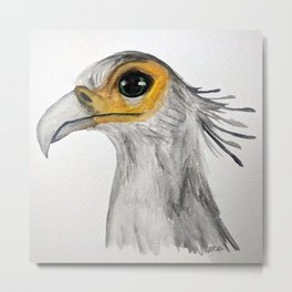 Secretary Bird Watercolour Metal Print