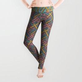 Pencil Maze Pattern pastel grey multi Leggings