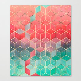 Rose And Turquoise Cubes Canvas Print