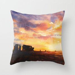 Stonhenge ruins silhouetted at sunset in the English countryside.  Stonehenge ruins artwork United K Throw Pillow