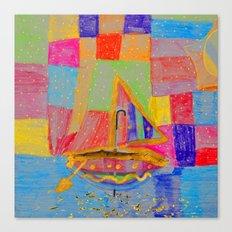When an umbrella transforms into a boat on Christmas night Canvas Print