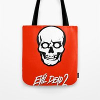 evil dead Tote Bags featuring Evil Dead 2 - Red by Dukesman