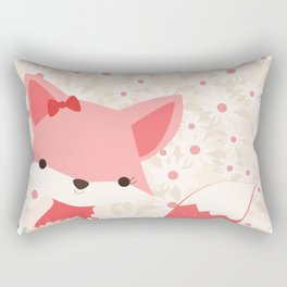 Fox Print, Woodland Animal Decor, Girls Nursery, Coral Pink Rectangular Pillow