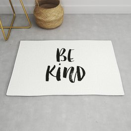 Be Kind watercolor modern black and white minimalist typography home room wall decor Rug