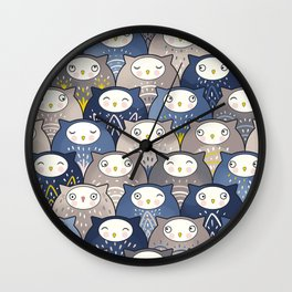 Find a cat in a parliament of owls (Art Deco Kawaii) Wall Clock