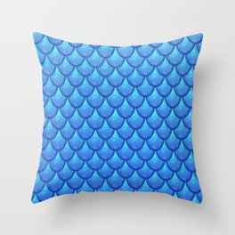 Fish Scales - Blue Version Throw Pillow