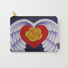 You Are My Angel With Heart Rose And Angel Wings By Annie Zeno Carry-All Pouch