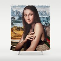 gucci Shower Curtains featuring GIOCONDA by NOXBIL