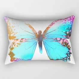 Turquoise Butterfly Rectangular Pillow