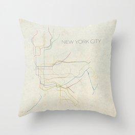 Minimal New York City Subway Map Throw Pillow