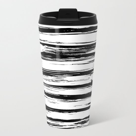 Stylish Black and White Paint Stripes Metal Travel Mug