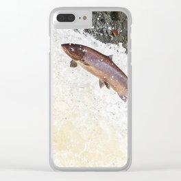 Leaping Atlantic salmon salmo salar Clear iPhone Case
