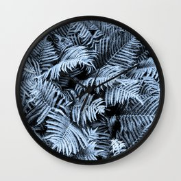 Fern | Sapphire | Deep Blue Botanical Art Wall Clock