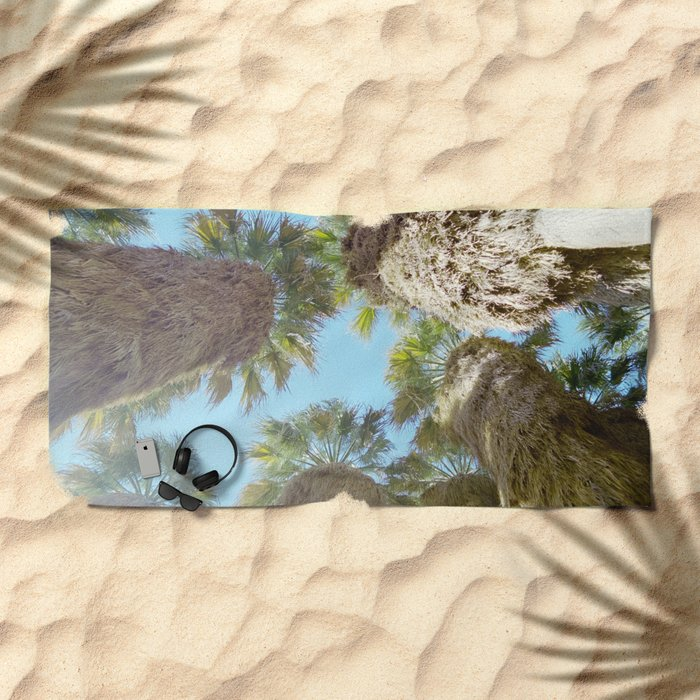 all natural palm trees Beach Towel