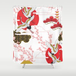 japan art Shower Curtain