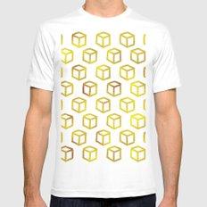 Geometric gold pattern Mens Fitted Tee MEDIUM White