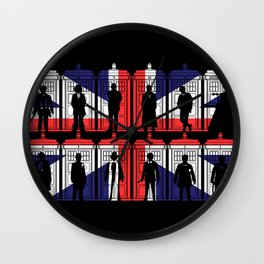 All 11 doctors UK flag tardis Wall Clock