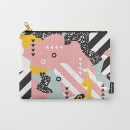 Spliced Geometric Memphis Pattern Geo Stripes Carry-All Pouch