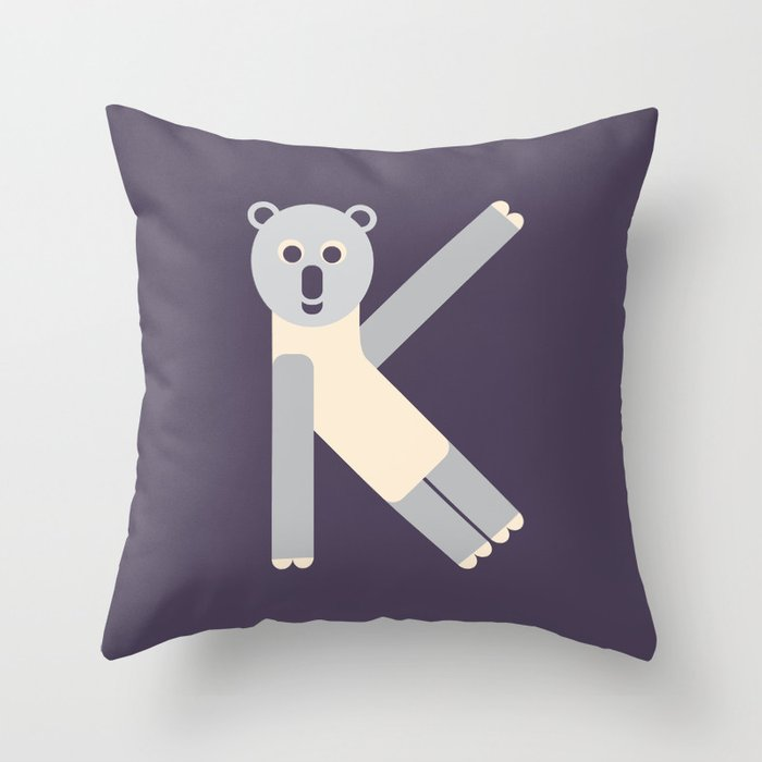 Letter K // Animal Alphabet // Koala Monogram Throw Pillow