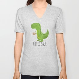 Coffee-saur Unisex V-Neck