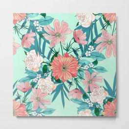 Boho chic spring garden flowers illustration Metal Print