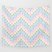 frenchie Wall Tapestries featuring Frenchie chevron by a.r.r.p.