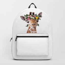 Baby Giraffe With Flower Crown, Baby Animals Art Print By Synplus Backpack