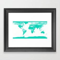 World Map Seafoam Framed Art Print