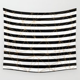 Gold Geometric Pattern Black and White Stripes Wall Tapestry