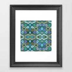 Multicoloured Tribal Arabic Patterns II, abstract geometric art Framed Art Print