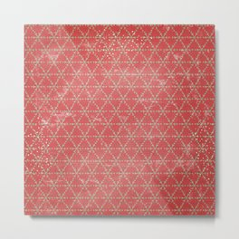 Red and green snowflakes Metal Print