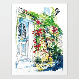 Old house in Antibes covered with plants Art Print