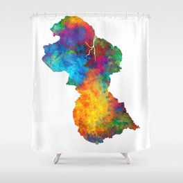 Guyana Watercolor Map Shower Curtain